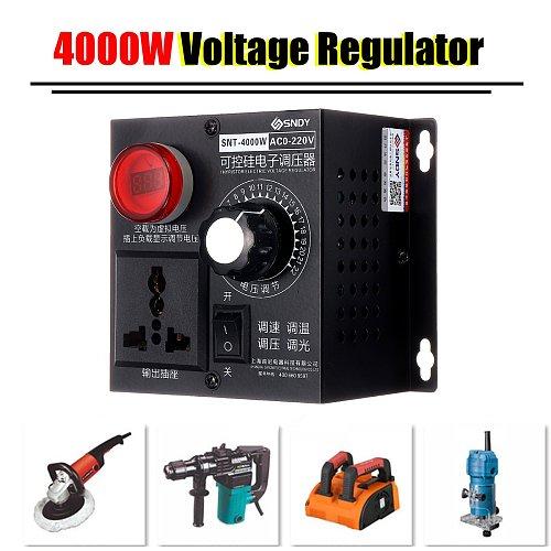 4000W High Power Silicon Electronics Voltage Regulator Machinery Electric Variable Speed Controller AC 0V-220V EU Plug+LED Light