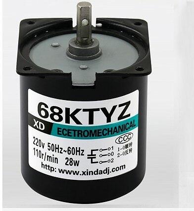 68KTYZ AC motor 220V 1rpm -110rpm motor micro slow speed machine 28W permanent magnet synchronous motor