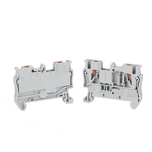 Din Rail Terminal Block PT-2.5 Push In Spring Screwless Electrical Terminal Strip Block Connector PT2.5 Wire Conductor 1 Piece