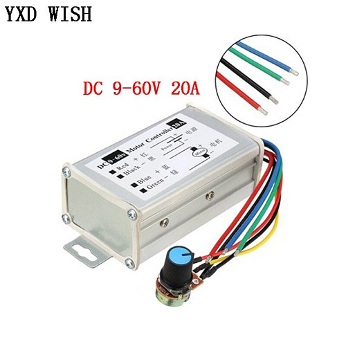 Motor Speed Controller DC 29V 12V 24V 48V 60V 20A PWM Motor Speed Controller Regulator Driver 20A 0-1200W Adjustable Current