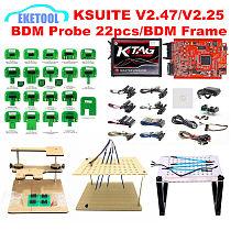 KTAG V2.25 7.020 KESS V2.47 5.017 ECU Chip Tuning Tool LED BDM Frame 4pcs Probe Pens BDM Probe 22pcs Full Adapters BDM100