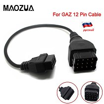 OBD2 Truck Diagnostic Cable For GAZ 12 Pin Diagnostics Cable to OBD 2 16Pin Male Connector can Work with TCS CDP PRO DLC Adapter