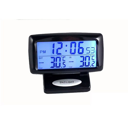 2 in1 Car Kit Indoor Outdoor Electronic Clock Thermometer Digital Display Useful