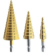 3pcs set Sheet metal tools Drill 4-12/20/32mm Hex Titanium Step Cone Drill Bit Hole Cutter workshop tools car body repair tool