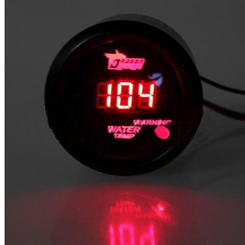 Car 12V 52mm Red Digital LED Electronic Water Temperature Gauge with Sensor