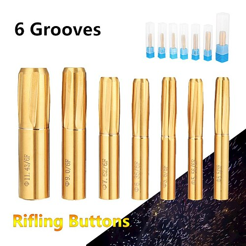 6 Flutes Spiral Reamer 5.5-11.43mm Rifling Button Reamer 5.5mm 5.56mm 5.6mm 6.35mm 7.62mm 11.43mm Chamber Helical Machine Tools