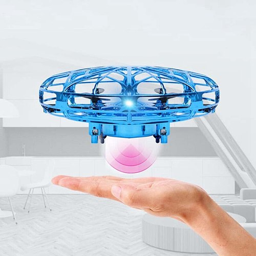 Blue UFO Four-axis Drone Gesture Sensing Anti-Collision Hand Ball Flying Aircraft Toy Mini Kids Electronic Gift Durable Quality