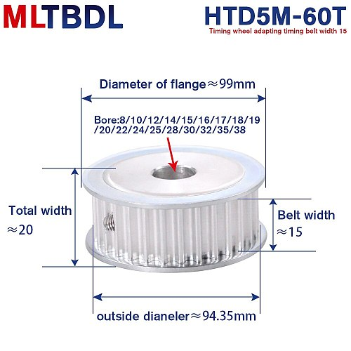 5M Type 60T Timing Pulley Aluminum alloy Bore12/14/15/19/20/22/25/28/30mm 60Teeth 5mm Pitch 16mm width  HTD5M Synchronous Pulley