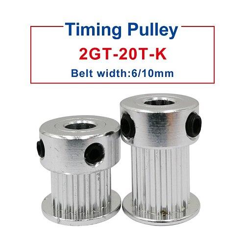 GT2 timing pulley 20 Teeth Bore 4/5/6/6.35/8 mm belt pulley width 7/11 mm fit for GT2 timing belt width 6/10mm 3D Printer parts