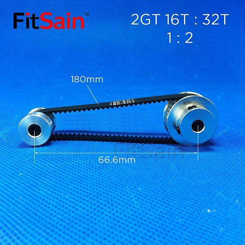 FitSain-2GT 16T:32T 1: 2 Width 6mm aluminum alloy pulley reduction ratio drive synchronous wheel center hole 3.175/4/5/6/6.35/8