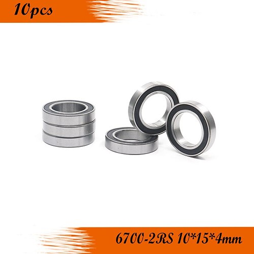 Free shipping 10PCS 6700-2RS 6700 RS 10*15*4mm black double rubber sealing cover  chrome steel bearing  6700RS 10x15x4mm