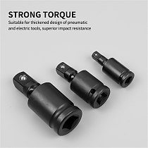 3pcs Black Converter Reducer Drive Air Impact Sockets Adapter Swivel Rotating Joint Sheet Metal Tools Set Repair Wrench