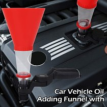 Universal Auto Car Vehicle Oil Adding Plastic Funnel with Clamp Base Bracket Detachable Durable Easy Pour Oil Filling Equipment