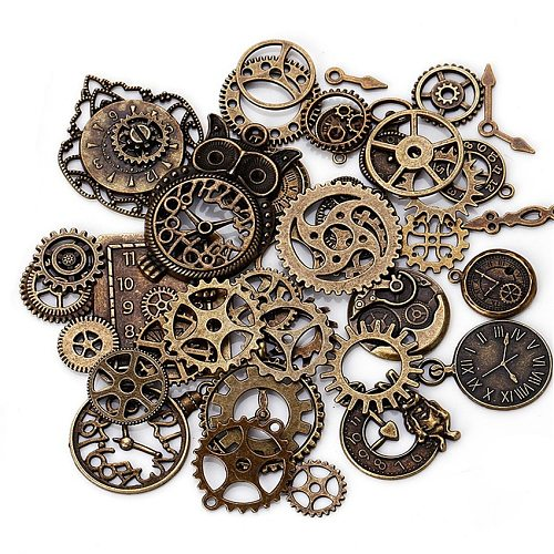 40pcs/set Retro Electroplated Metal Gear Kit Mixed Mechanical Gears Clock Watch Accessories For DIY Handmade Watch Gear Parts