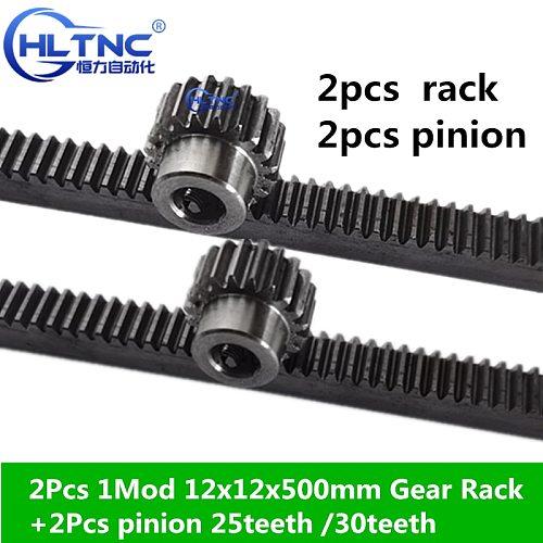 2Pcs 1Mod 1 Modulus 12x12x500mm High Precision Gear Rack steel +2Pcs 1M 25teeth 30tooth pinion cnc rack mod 1 rack