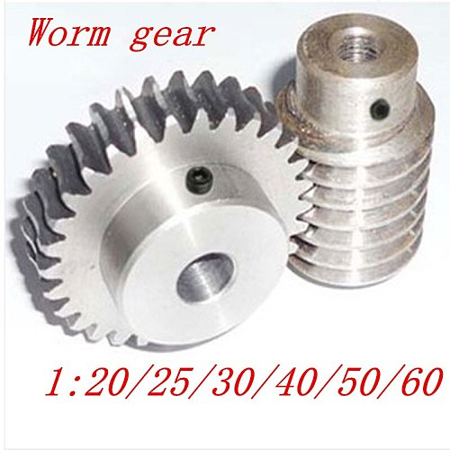 1 sets 1M Worm gear with rod  20/25/30/40/50/60 teeth steel worm gear reduction ratio:1:20/25/30/40/50/60 worm rod bore 8mm