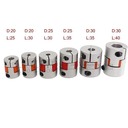 Free shipping Flexible plum clamp coupler D25 L35 shaft  size 5/6/6.35/7/8/10/12/14mm CNC Jaw shaft coupling 5mm 8mm
