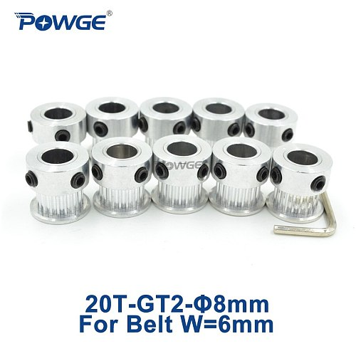 POWGE 20 Teeth 2GT 2M Timing Pulley Bore 8mm for width 6mm 2MGT GT2 Open Synchronous belt small backlash 20T 20Teeth 10pcs
