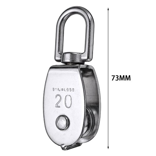 1pc 304 Stainless Steel Single Wheel Durable Anti-rust Swivel Lifting Rope Pulley Block for Hanging Weight Things Lighten Load
