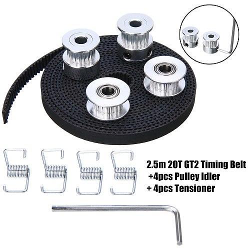 New 2.5m 20T GT2 Timing Belt +4pcs Pulley Idler + 4pcs Tensioner 3D Printer Tool Set