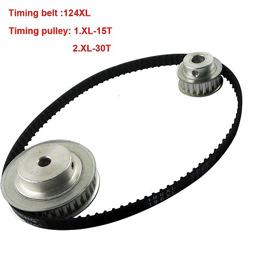 LUPULLEY Timing Belt Pulley XL Set Reduction 2:1 30T 15T Shaft 100mm Engraving Machine Accessories Gears Pulleys Belts Kit