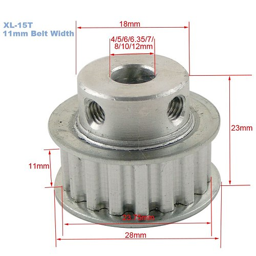 XL 15T Timing Pulley 11mm Width Toothed Belt Pulley 4/5/6/6.35/7/8/10/12mm Bore 5.08mm Teeth Pitch 15Teeth Transmisson Pulley