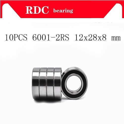 10PCS ABEC-5 6001-2RS 6001 2RS 6001RS 6001 RS 180101 RS 12x28x8 mm Rubber seal High quality Deep Groove Ball Bearing 6001-2RSH