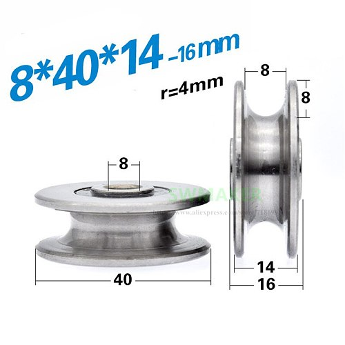 1pcs 8*40*14mm U grooved concave wheel bearing wheel/crane/pulley/guide wheel, for 8 mm diameter wire rope/guide rail