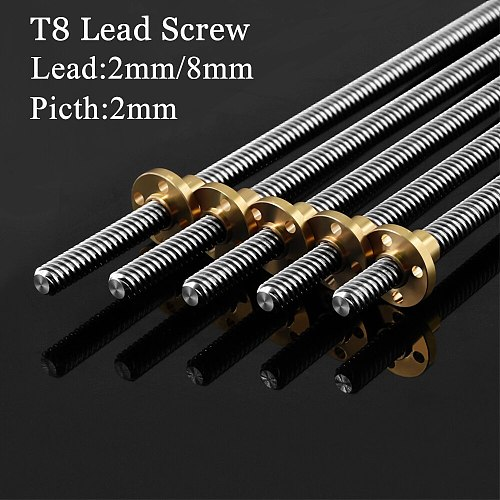 3D Printers Parts T8 Lead Screw 100mm 150mm 250mm 300mm 330mm 350mm lead screw 8mm Trapezoidal Screws Copper Nuts Leadscrew Part