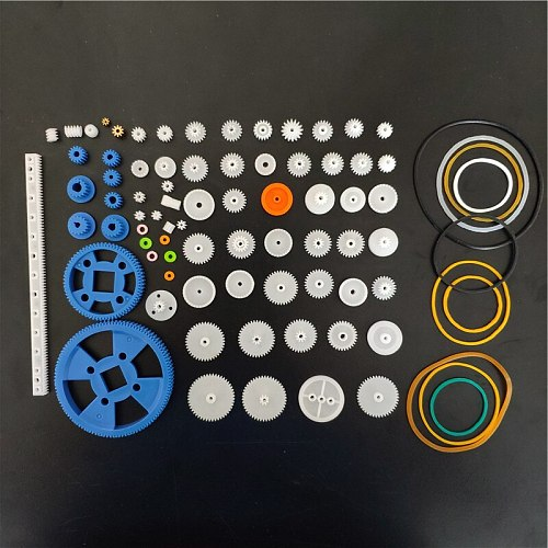 Plastic Gears Set DIY Assembly Toy Teeth Belt Worm Band Wheel Sector Crown Double shaft layer Helicopter Car Parts Dropshipping