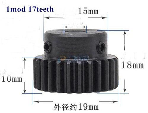 2pcs/lot 1Mod 15*15*500mm 1 Modulus High Precision Gear Rack steel  + 2pcs 1M 17teeth pinion cnc gear rack steel gear pinion