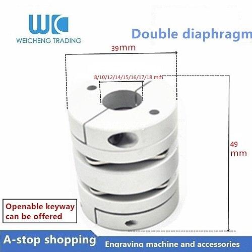 flexible diaphragm coupling 1PC D39L49 hole 8/10/12/14/15/16/17/18 mm Flexible Plum Shaft Coupling CNC Stepper Motor Coupler