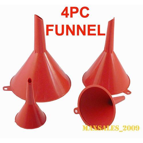 4pcs Set Multi Use Funnel Household Kitchen Garage Liquid Petrol Funnel Kits Red  2  3  4  5  Filling Funnel TXTB1