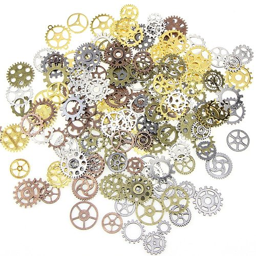 100G/ Lot Jewelry Craft Vintage Cogs Pendant Wrist Watch Mix Alloy Gear Mechanical Steampunk Bracelet Accessories Old Parts DIY