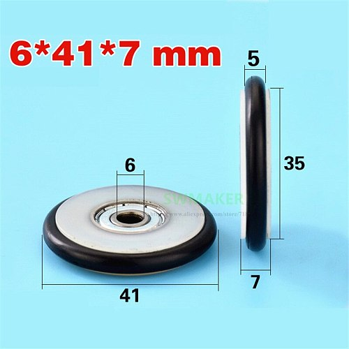 1pcs 6*41*7mmm Buna-N rubber O rubber ring rubber rubber roller, mute elasticity, blackboard fishing tackle, 626 bearing pulley