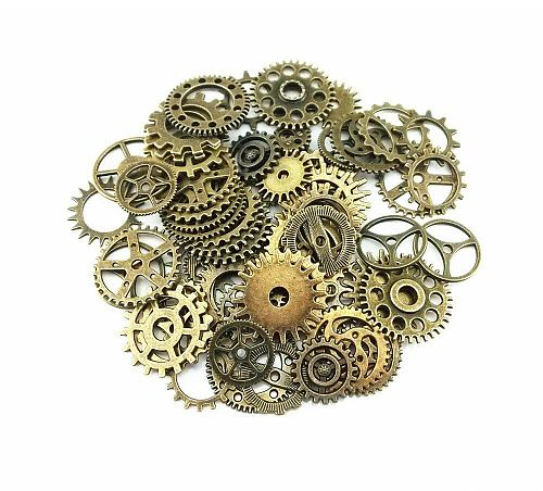 20pcs Bronze Watch Parts Steampunk Cyberpunnk Cogs Gears DIY Jewelry Craft