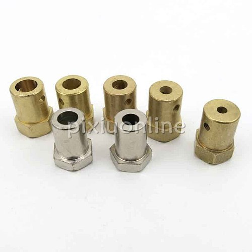 1pc J257 Brass Shaft Coupling Inner Diameter 2/4/5/6/7mm Hex Couplings Model Car Wheel Connector DIY Parts Free Shipping Russia