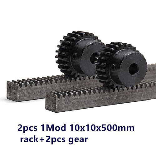 2pcs/lot 1Mod 1 Modulus High Precision Gear Rack steel 10*10*500mm + 2pcs 1M 17teeth 15teeth pinion 45 steel gear metal gear