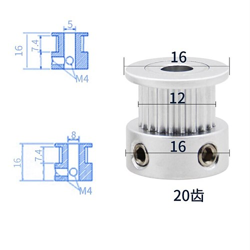 1Pcs Aluminum GT2 6mm Width 20 Tooth Teeth 2GT Timing Drive Pulley Pully Wheels Gear For 3D Printer Bore=4mm/5mm/6.35mm/8mm