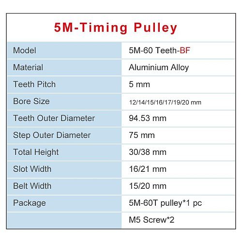 5M-60T Pulley Inner Bore 12/14/15/16/17/19/20 mm Aluminum pulley wheel Slot Width 16/21 mm Fit For Width 15/20 mm 5M-timing belt