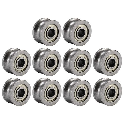 20Pcs U Groove Bearing U624ZZ Carbon Steel Durable V Groove Ball Bearing Pulley for Rail Track Linear Motion Systems