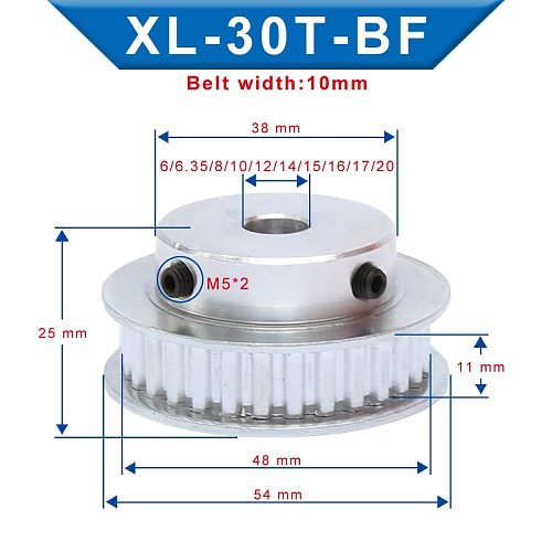 XL 30 T Timing Pulley Bore 6/6.35/8/10/20 mm Teeth Pitch 5.08 mm Aluminum Pulley Wheel Teeth Width 11 mm For 10mm XL Timing Belt
