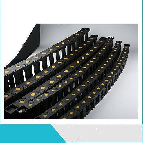 Black Enhanced Plastic Nylon Drag Chain Cable Carrier 1M Length 35x50/60/75/100mm Bridge-type for CNC Machine