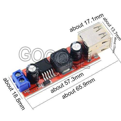 1PCS DC 6V-40V To 5V 3A Double USB Charge DC-DC Step Down Converter Module For Vehicle Car Charger Dual Two USB Power Supply