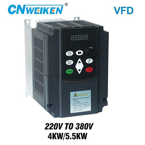 step up voltage converter inverter 220v to 380v 4kw/5.5kw single phase 220V converter to three phase 380v AC power transformer