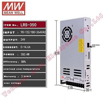 Original MEAN WELL LRS-350 Single Output 350W 5V 12V 24V 36V 48V meanwell Power Supply UL CB CE 30mm thickness 110VAC or 230VAC