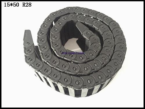 1pcs 15x50mm R28 Cable Drag Chain Wire Carrier with End Connector 15mm x 50mm L1000mm 40  for 3D CNC Router Machine Brand New