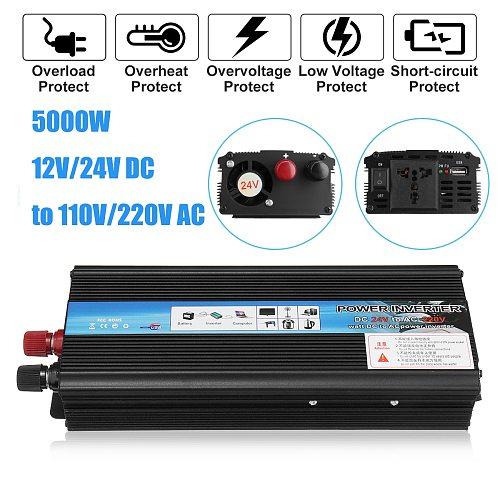 Inverter 12V 220V Voltage Transformer  5000W P eak DC12V/24V to Ac 110V/220V Solar Power Inverter Converter Solar Inversor Black