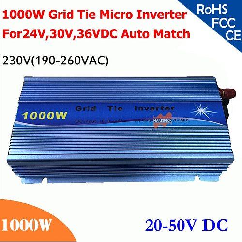 New 1000W grid tie micro inverter 20V-50VDC, 190V-260VAC 220V/230V, workable for 1200W, 24V, 30V, 36V for solar system