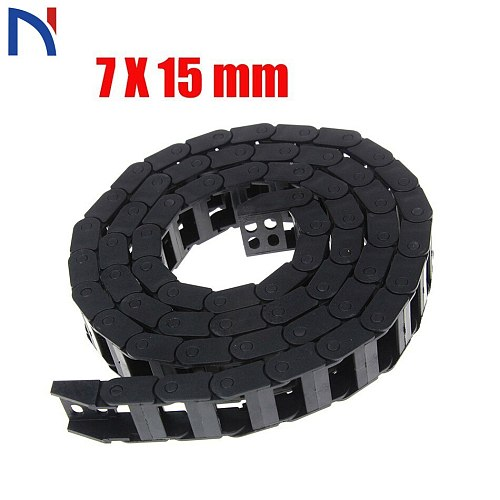 Plastic Transmission Drag Chain 7 x 15mm L1000mm Cable Drag Chain Wire Carrier with End Connectors for CNC Router Machine Tools